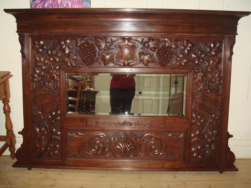 Carved over-mantle with grape vine images, Queensland walnut, by George  Mattsmith - Australian Furniture - Antique Furniture - Art